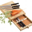 Maxam 5PC. Cutlery Set with Oak Cutting Board - CKCTWD5
