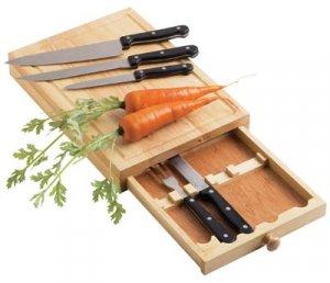 Maxam 5PC. Cutlery Set with Oak Cutting Board - CKCTWD5
