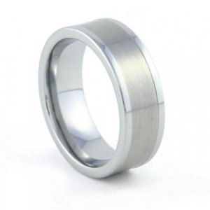 Spartan - 8mm Flat Tungsten Carbide Band with a Brushed Center