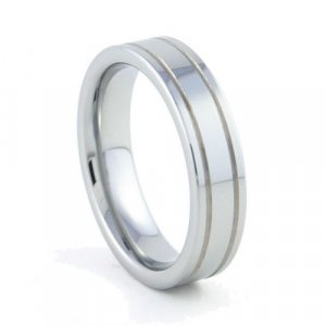 Nexus - 6mm Flat Tungsten Carbide Band with Grooves