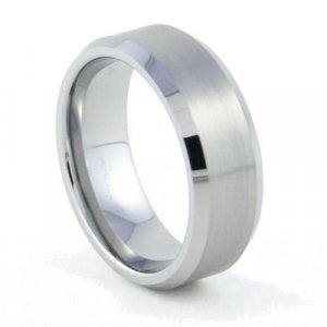 Metropolis - 8mm Bevel Edged Tungsten Carbide Band