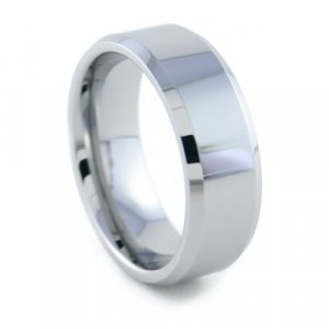 New Yorker - 8mm Bevel Edged Tungsten Carbide Band