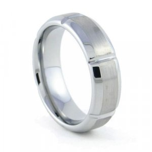 Gear - 7mm Beveled & Grooved Tungsten Carbide Band