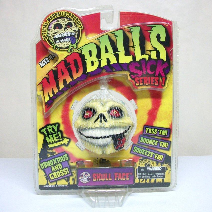 Madballs Skull Face Sick Series 1 #1567 squishy skeleton retired Basic Fun 2007