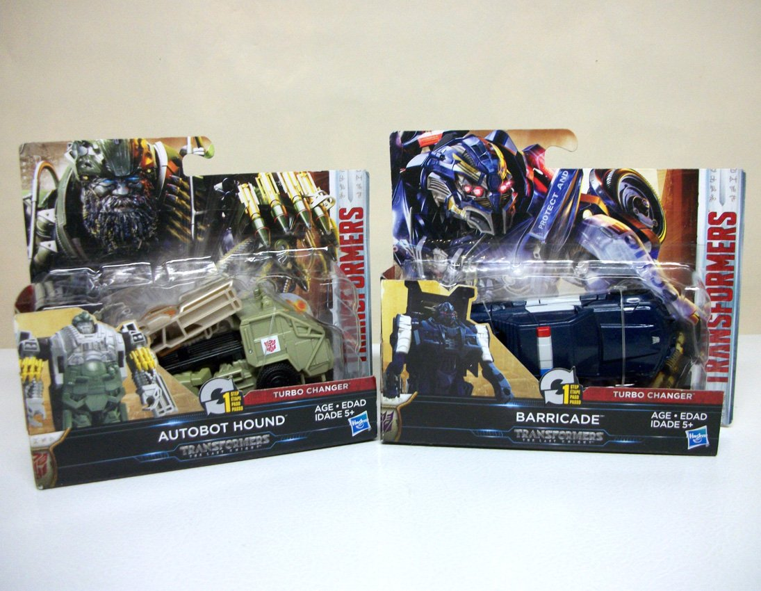 Transformers The Last Knight Lot of 2 Autobot Hound & Barricade 1 step changers police car tank 2017
