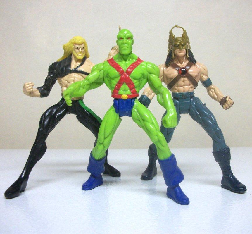 DC Total Justice Lot of 3 loose figures Aquaman Hawkman Martian Manhunter league Hasbro 1996 1998