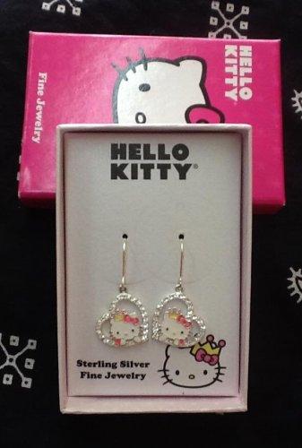 Hello Kitty Sterling Silver Rhinestone Heart Dangling Earrings