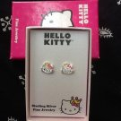 Hello Kitty Sterling Silver Rhinestone Stud Earrings