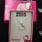 Hello Kitty Sterling Silver Rhinestone Heart Necklace