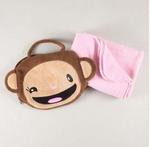 Monkey Carrying Case with Pink Blanket