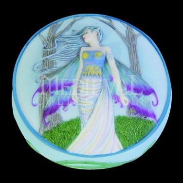 Eternity Fairy Scene Round Jewelry/Trinket Box Figurine
