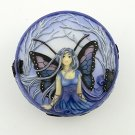 Blue Diadem Fairy Scene Round Jewelry/Trinket Box Figurine