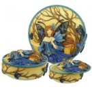 Peacock Fairy Scene Round Jewelry/Trinket Box Figurine