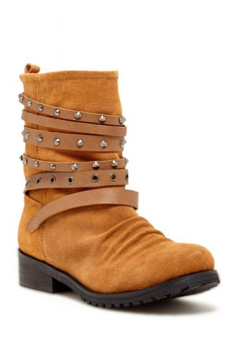 NYLA Tan Studded Strap Boot (size 5.5)