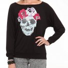 Rose Skull Black Long Sleeve Slash Back Top (size S)