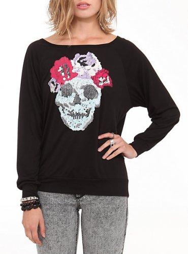 Rose Skull Black Long Sleeve Slash Back Top (size S)