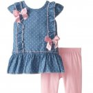 Nannette Baby Girls' 2 Piece Woven Blouse Set with Knit Pants