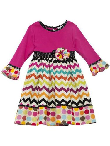 Fuchia Chevron Dot Dress