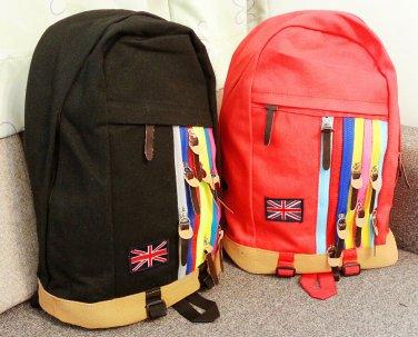 Rainbow zips Backpack in Red UK Flag Nation School Bag Travel Bag bookbag