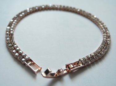 Imitation Rose Gold Plated Tennis Bracelet Faux diamond
