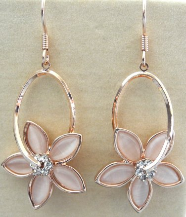Rose gold plated earrings with faux cat's eye stone in pink flower shaped dangle