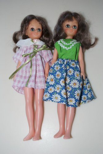 """Two 9"""" Dolls with Large Eyes"""