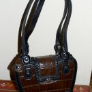 Brown & Black Small Satchel Purse Silver Hearts Brighton or M C Style