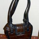 Brown & Black Small Satchel Purse Silver Hearts Brighton or M C Style