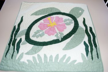 "Hawaiian Quilt Pillow Green Turtle Pink Hibiscus 18"" Square"