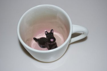 Spademan Pottery Black Scottie Dog Pink Animug Mug Cup