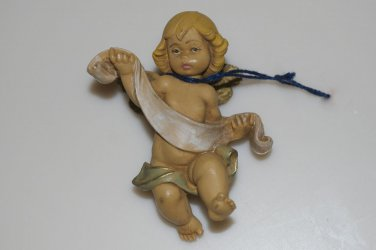 """Fontanini Angel Ornament 96 with Banner Depose Italy 2.75"""""""
