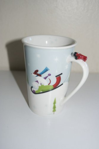 Starbucks 2011 Child's Holiday Christmas Mug Dog Sled Ice Skating Airplane