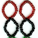 Red, Black and Green Triple Circle Earrings