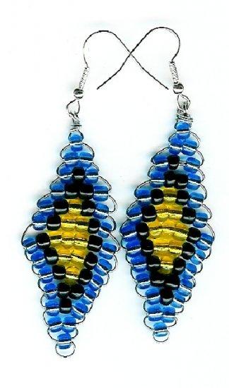 Blue, Black and Yellow Diamond Earrings