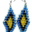Blue, Black and Yellow Diamond Earrings