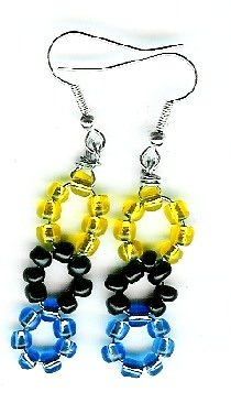 Blue, Black and Yellow small  Triple Circle Earrings