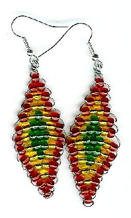 Red, Yellow, and Green Diamond Earrings