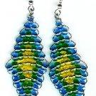 Blue, Green, and Yellow Diamond Earrings