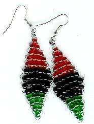 Red, Black and Green Color blocked Diamond Earrings