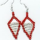 Handmade Red and White triangle Beaded Earrings