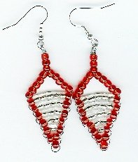 Handmade Red and White triangle Beaded Earrings