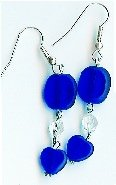 Handmade blue heart and crystal earrings
