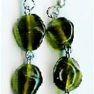 Handmade dark green glass dangle earrings earrings