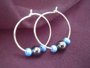 Hematite and Blue Earrings