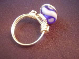 Blue with White Wave Ring