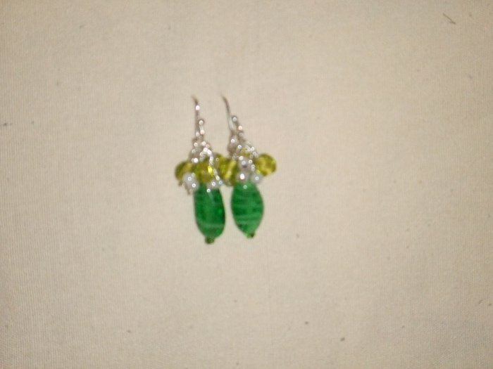 Green Glass Drop Earings