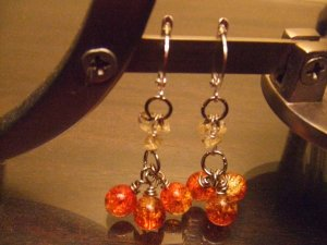 Orange Cluster Earrings