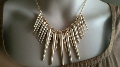 Gold Color Alloy Exaggerate Spikes Punk Style Women Necklace
