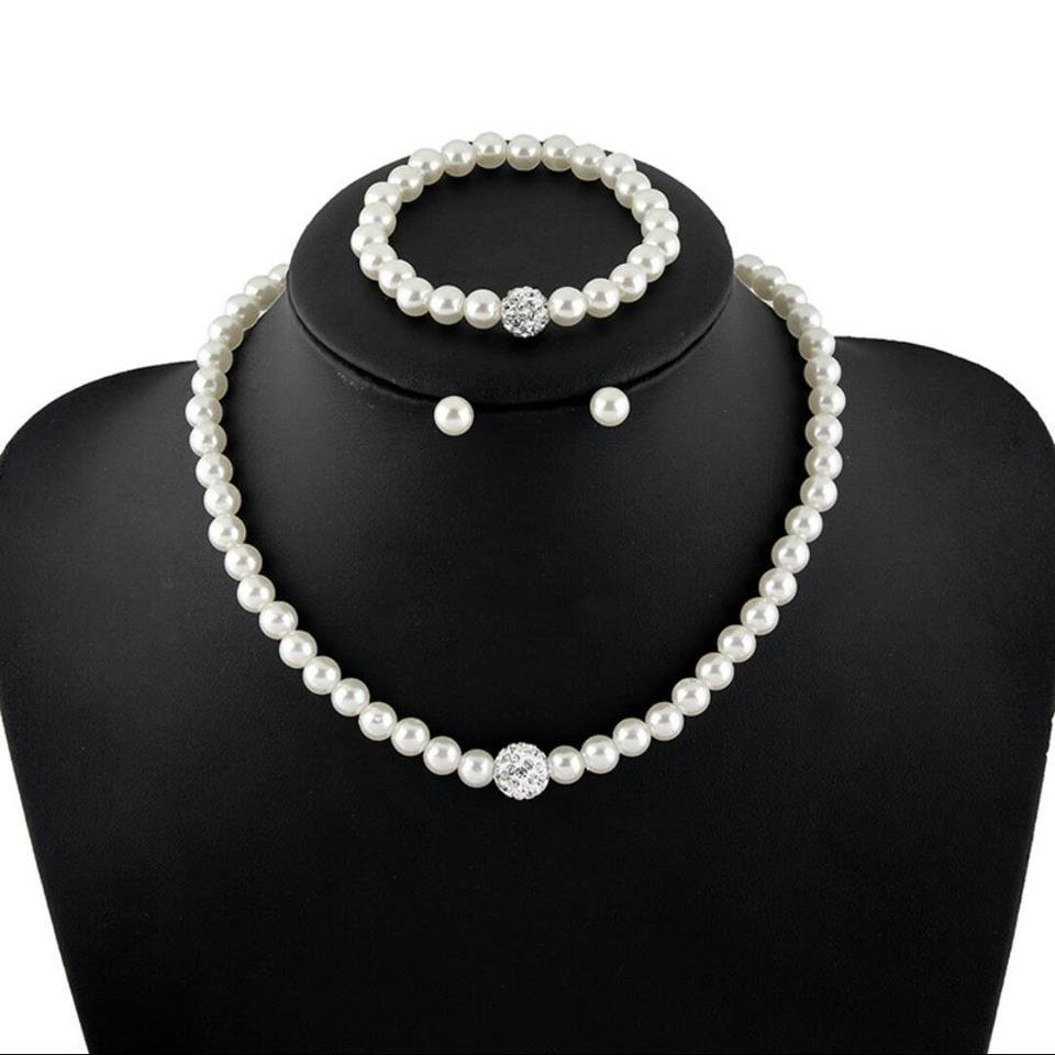 Pearls design Women Necklace Earrings Bracelet set