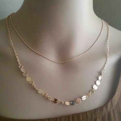 9k Gold Plated Double Sequins Charm Chain Necklace
